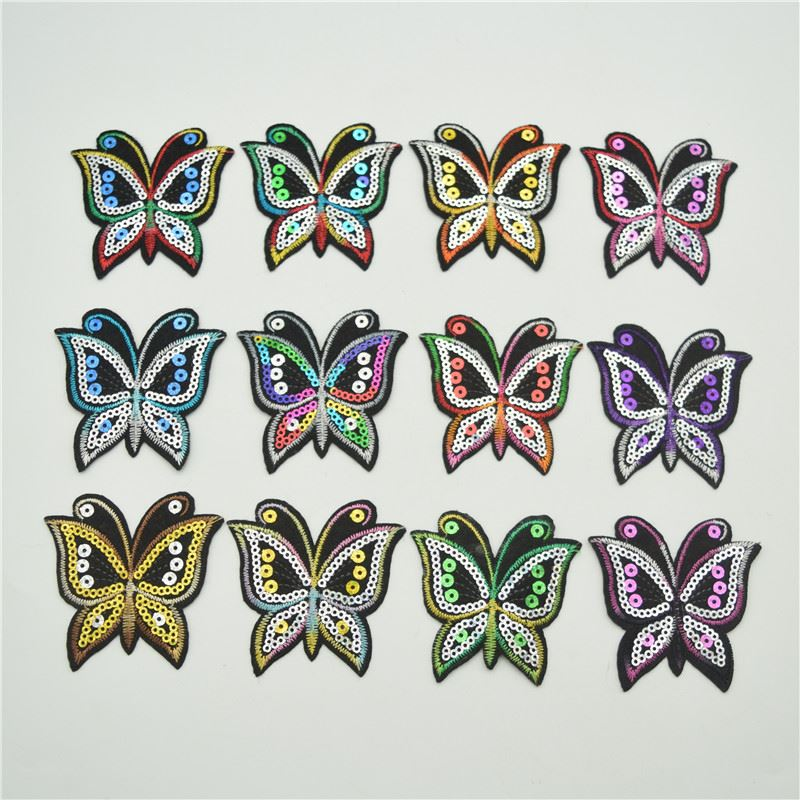 Mixed 12colors butterfly patches sequin patch set iron on applique sew motif badge hot fix