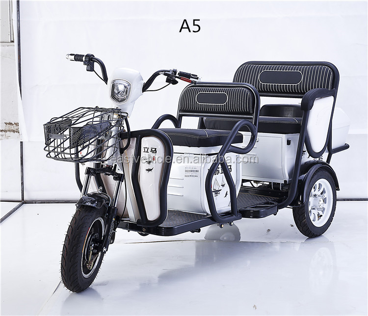 Tricycle ISO /3C / CE certificate comfortable double seat electric tricycle three wheel
