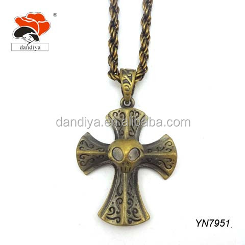 Modish Twisted Long Chain Necklace With Antique Peculiar Talisman Cross Design