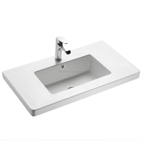 Rectangular white single facet hole barber basins