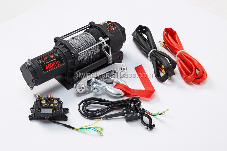 small atv utv trailer electric boat rope winch 4500lb 12v