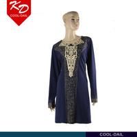 latest dress design for women fashion Muslim long sleeve embroidery bead new dress