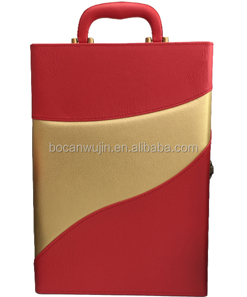 new double leather wine case