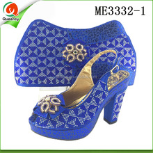 ME3332 Queency Royal Blue Italian Design Women High Heel Matching Shoes and Bag Set for Evening Party