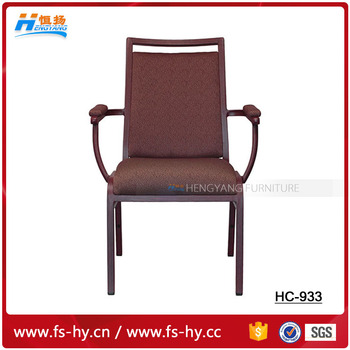 HC-933 design fabric cheap price steel molded seat arm banquet chair flat top