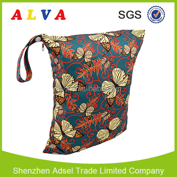 Alvababy Flowers Pattern Baby Cloth Diaper Wet Bag Baby Diaper Bag