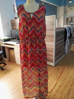 Soft and breathable print polyester casual long dress with lining