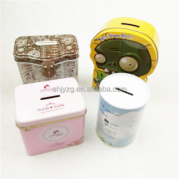 new model metal custom shape money saving tin box for packaging