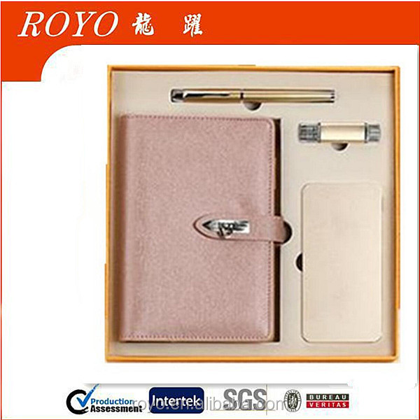 2017 Custom Logo Office Stationery Leather Notebook Gift Set with Phone USB Flash Drive And Power Bank and Gel Pen