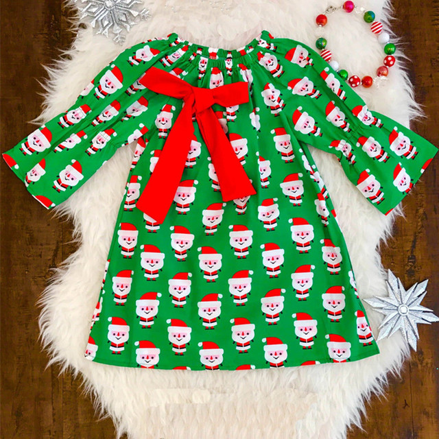 Wholesale baby wear clothes cartoon print Santa Claus girls boutique christmas dress long sleeve children cotton frocks design