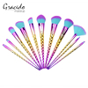 High quality best price unicorn design cosmetic 11pcs rainbow foundation blush concealer makeup brush kits