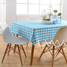 "52x52''- 60x120"" Light Blue Squares Dining Tablecloth Color Printed Polyester Plaid Table Cloth"