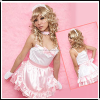 Cheap hot sell sexy sleeveless pink maid costume