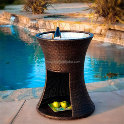 Round storage wicker ice box furniture for outdoor party hotel poolside beer cooler table
