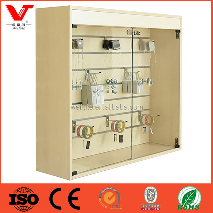 Retail Store Glass Slatwall Display Shop Counter Cabinets Design with glass lockable door