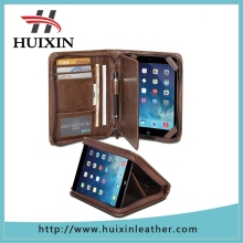 Newly card slot money pocket style portfolio leather Case for iPad mini Retina