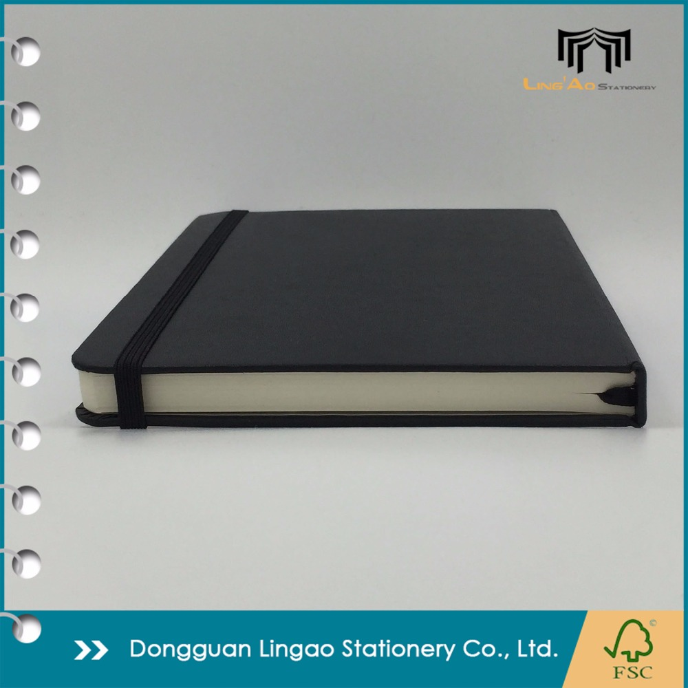 Wholesale high quality classic custom Moleskin style leather hardcover notebook journals with back paper pocket