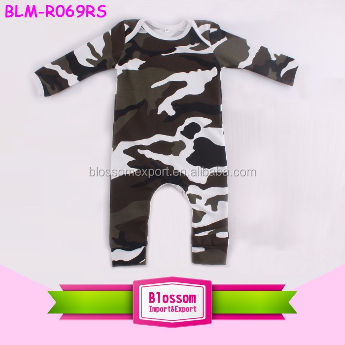 Wholesale Toddler Kids Long Sleeve Carter's Romper Plain Blank Cotton Jumpsuit Long Leg Binding Boys Camo Onesie
