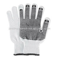 Cotton work garden gloves,black rubber dots, mens / womens