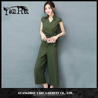 women casual office jumpsuit short sleeve top with collar new fashion classic 2017 guangzhou manufacturer