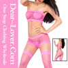 Valentine Hot Neon Pink Heart Fishnet Japanese women Sexy Lingerie