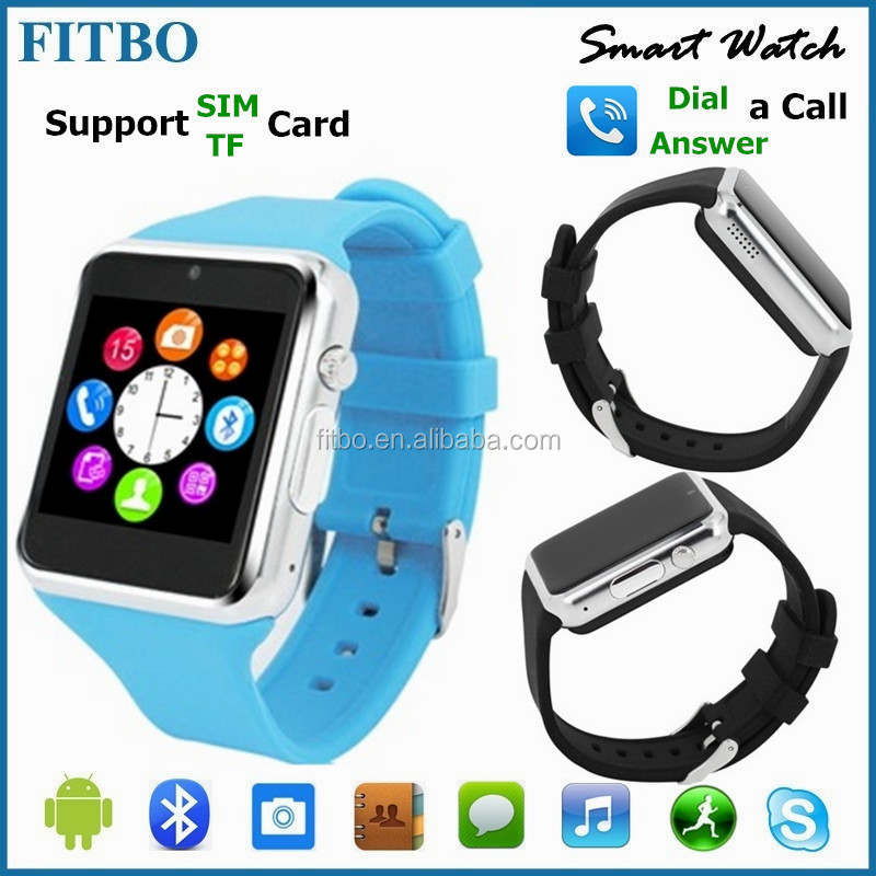 GT08 wrist watch phone dual sim For Iphone 5 5S 6/Samsung S4 S6/Android , FM 1.3M Camera