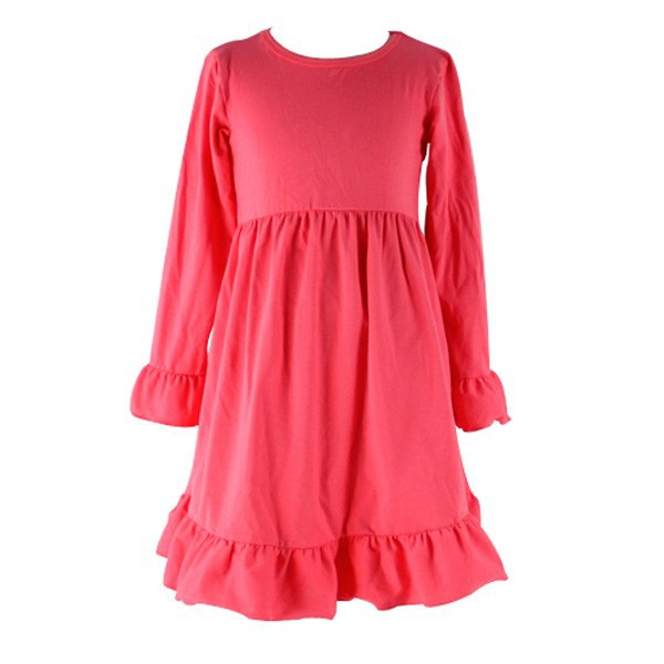 The new latest summer cute and lovely boutique ruffle solid fashion dresses for girls