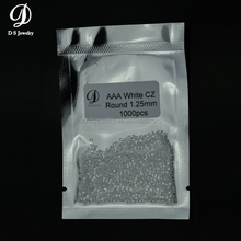 Hot sale 1.25 mm round cubic zirconia europe machine cut micro pave cz bead