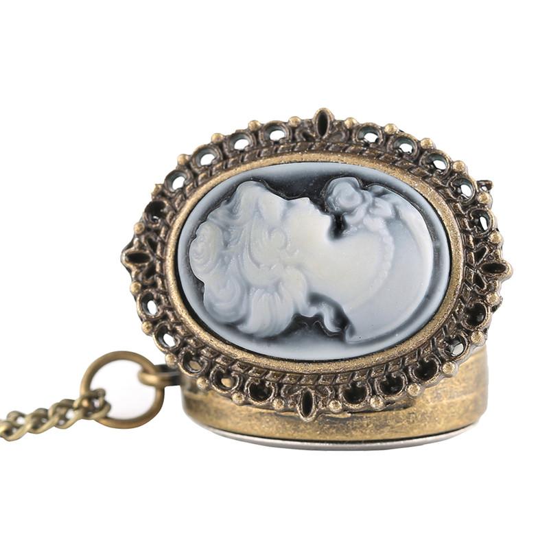 Vintage Elegant Pretty Beautiful Women Pattern Small Mini Quartz Pocket Watch for Lady Girl Neckalce Pendant Female Clock P62 (3)