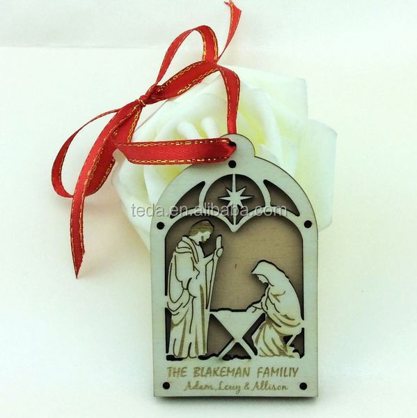 creative Laser cut wooden christmas hanging decorationWood party wedding gifts for guest ,keychain decoration