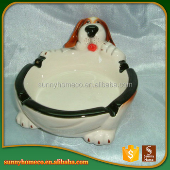 Top Quality Folk Art Custom Dog Decoration Design Ceramic Ashtray
