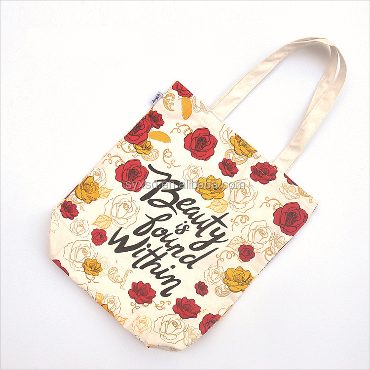 2017 Best Promotional Gift Flower Print Cotton Canvas Shopping Bag For Advertisement
