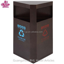 Triangle metal Wall recycling bin,Public outdoor dustbin , double bin Trash cans made in China GPX-329B