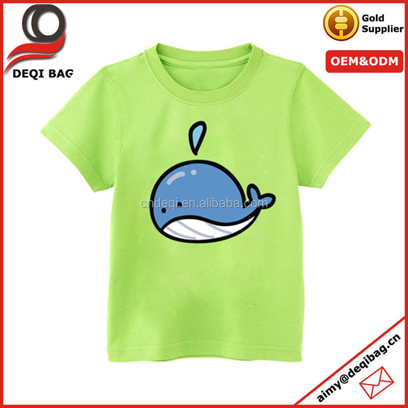 Trendy Korean Style Little whale Print Cotton T-shirts Children Lovely Animal Cartoon Short Sleeve T-shirt Kids O-neck Tee Dress