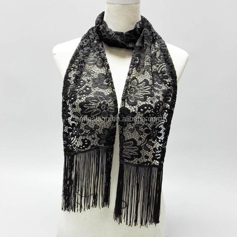 New Fashion China Yiwu Factory Direct Black Lace Scarf With Tassel