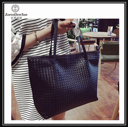 High quality woven sheep leather tote women bag