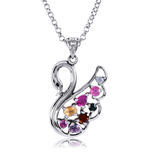 CYMO New Product Wholesale Brazil Natural Tourmaline Solid Silver Swan Necklace