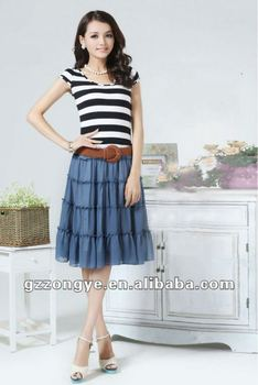 Strip T-shirt & chiffon cake skirt set 2012 clothing factory