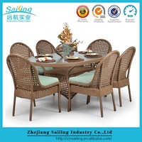 New Europe Leisure Outdoor Rattan Furniture 6 Seater Rattan Dinner Set