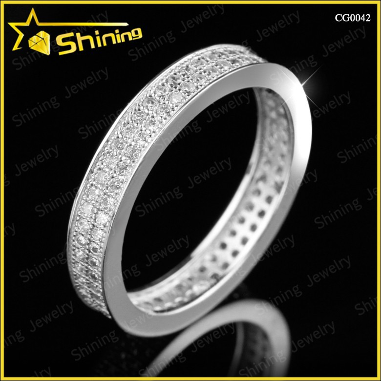 hoop micro pave flat circle simple rhodium plated cz rings