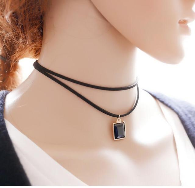 Punk Leather Choker Necklace Rock Bell Pendant Necklace Collar Necklace Jewelry Short Necklaces Collier Femme MultiLayer Chain