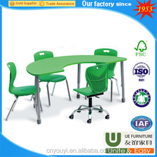 2018 factory OEM Colorful nursery school furniture sets single table attach plastic chair used classroom desk and chair for sale