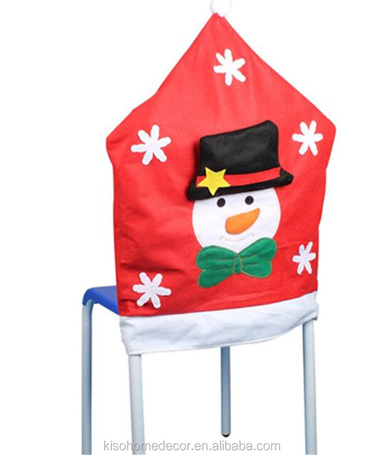 European High Quality Half Stereo Christmas Snowman Santa Elk Chair Covers 3pcs