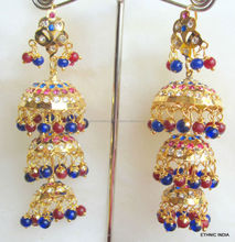 Jhumka Gold plated Jadau light weight blue beads dangler EARRINGS