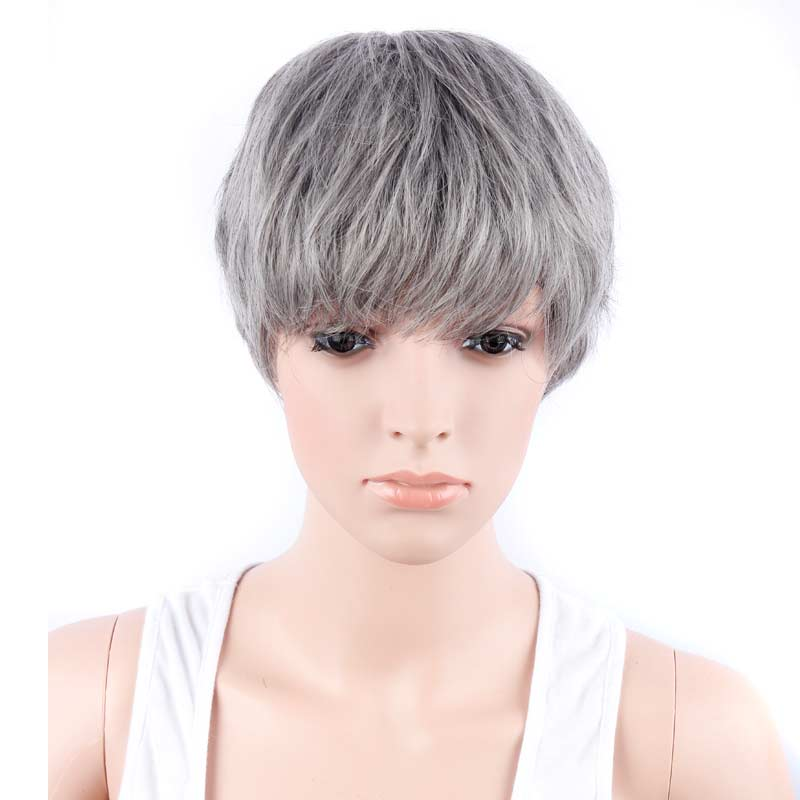 Fashion Mixed Brown and Grey Color Short Synthetic Hair Wigs Full Machine Made Wigs