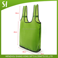 green foldable reusable shopping bag with zipper