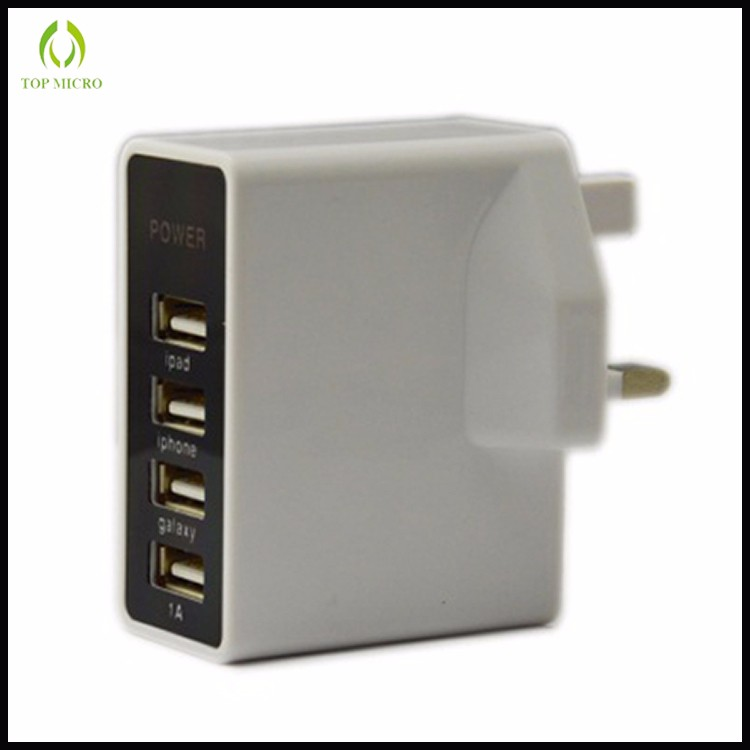 Multi 4 USB 4.5A Fast Charging Adapter with UK Socket Travel Wall Charger