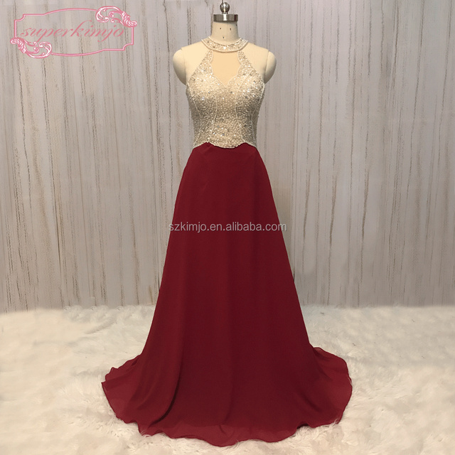Real Photo Beaded Prom Dresses 2018 Long Chiffon Burgundy A Line Cheap Prom Gown Evening Dress