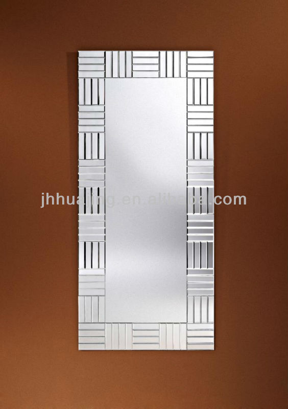 Contemporary Rectangle Frameless Bevelled Strips Glass Wall Mirror/Wall Decor/Hotel Dressing Mirror