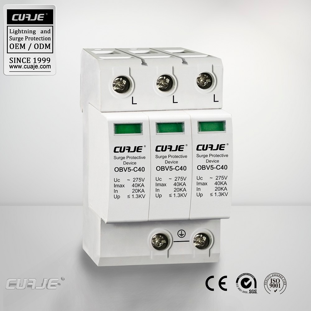 With CE certificte hot sale 40KA power supply building lightning protector,surge voltage limiters,40ka surge protector
